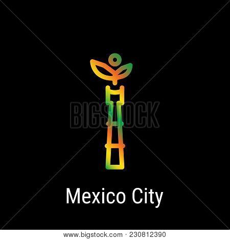 Mexico City, Mexico Vector Line Icon. Mexico Madrid Landmark, Emblem, Print, Label, Symbol. Mexico I