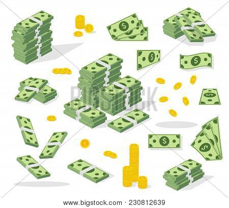 Set A Various Kind Of Money. Banking Process. Packing In Bundles Of Bank Notes, Bills Fly, Gold Coin