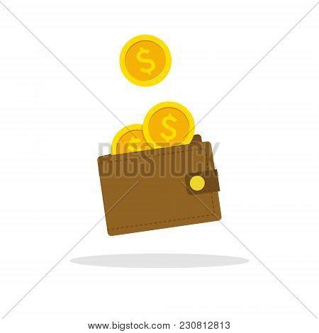 Wallet Icon. Vector Flat Wallet Illustration.money Cash Heap