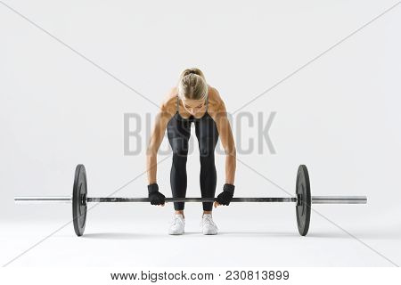 Fitness Attractive Woman Preparing To Practice Deadlift With Heavy Weights Female Bodybuilder Doing