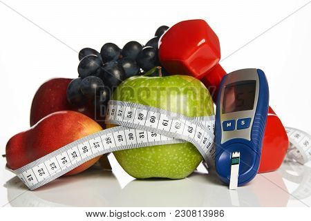 Blood Sugar Control With Healthy Organic Food And Dumbbells With
