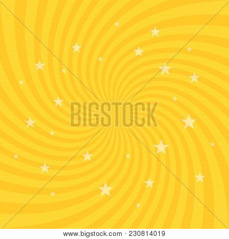 Swirling Radial Pattern Stars Background. Vortex Starburst Spiral Twirl Square. Helix Rotation Rays.