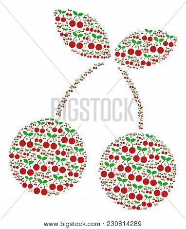 Cherry Pattern Organized In The Shape Of Cherry Pictograms. Vector Iconized Collage Combined From Si