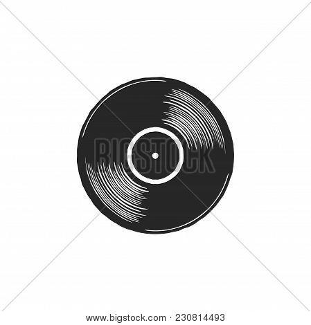 Vintage Hand Drawn Vinyl Lp Record With Gray Label. Black Old Technology, Realistic Retro Design. Il