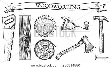 Vector Illustration Of A Woodworking Objects Set: Hand Saw, Circular Blade, Wooden Slab, Board, Tree