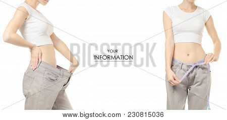 Young Woman In Jeans Weight Loss Weight Loss With A Centimeter Set Pattern On A White Background Iso