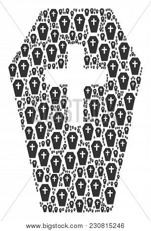 Coffin Figure Constructed In The Combination Of Coffin Design Elements. Vector Iconized Collage Comb