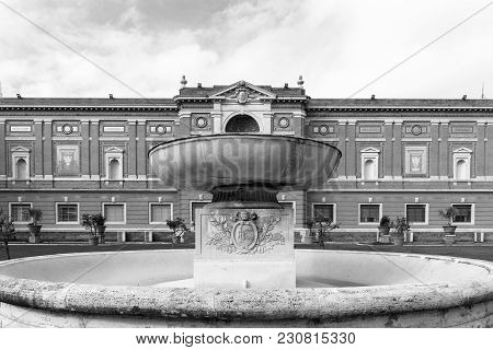 Front Picture Of The Fountain At The Vatican Museum In Rome, Italy