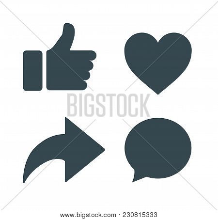 Thumbs up and heart icon with repost and comment icons on a white background. social media icon, empathetic emoji reactions