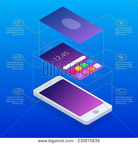 Isometric Concept Of Scanning Fingerprint On Smartphone, On Blue Background. Unlock Mobile Phone. Il