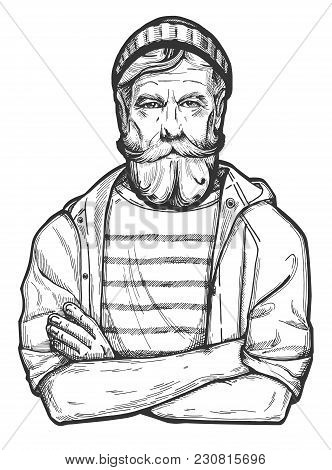 Vector Illustration Of A Stylish Man In Age With A Full Beard And Mustaches Wearing Beanie Hat, Rain