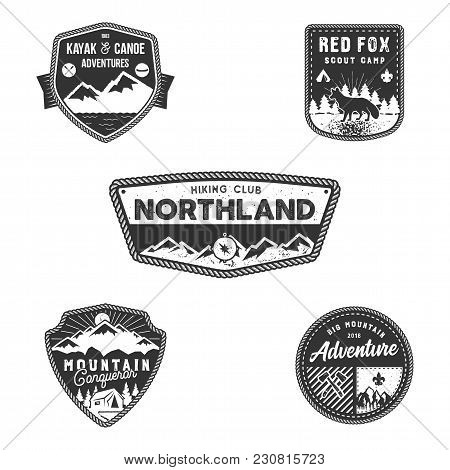 Travel Badge, Outdoor Activity Logo Collection. Scout Camps Emblems. Vintage Hand Drawn Travel Badge
