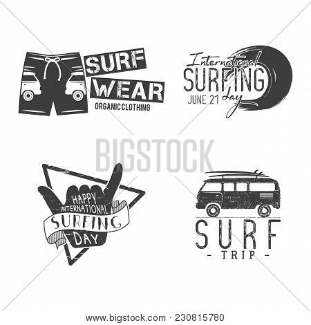 Vintage Surfing Graphics And Emblems For Web Design Or Print. Surfer Logo Templates. Surfing Graphic