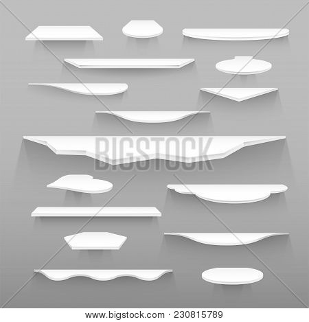 Empty White Shelves Of Various Forms And Sizes With Realistic Dual Transparent Shadows, Trendy Desig