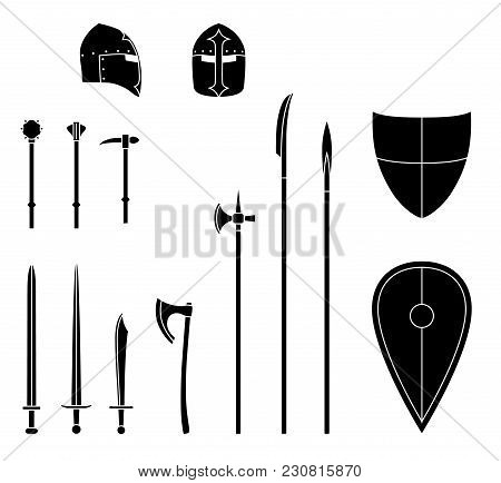Medieval Weapons And Armors Set. Medieval Warrior Equipment. Sword, Axe, Spear, Pike, Helmet Shield