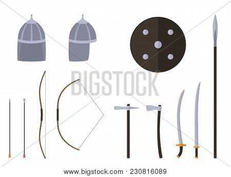 Nomad Weapons And Armors Set. Nomad Warrior Equipment. Sable, Axe, Spear, Bow, Arrows, Helmet Shield