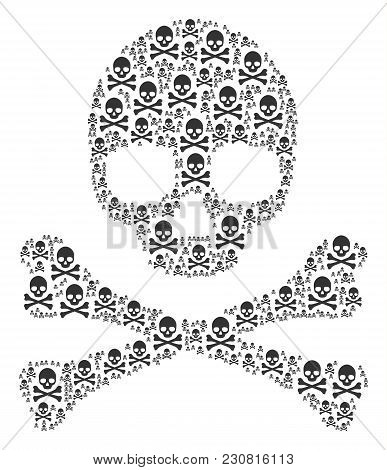 Death Skull Collage Constructed In The Shape Of Death Skull Pictograms. Vector Iconized Composition