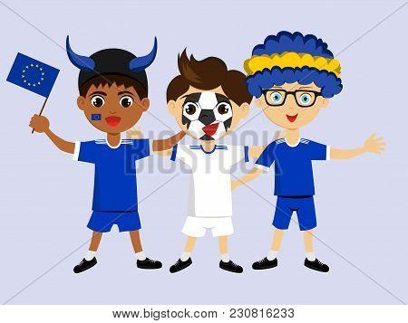 Fan Of European Union National Football, Hockey, Basketball Team, Sports. Boy With European Union Fl