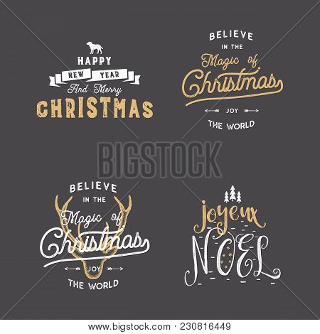 Merry Christmas Typography Quotes, Wishes Set. Sunbursts, Ribbon And Xmas Noel Elements, Icons. New