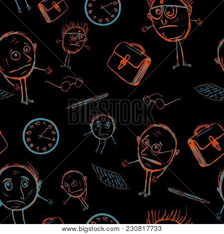 Seamless Pattern Of Office Plankton. Stupid Teachers In The Childrens Style. Scientists Who Do Not K