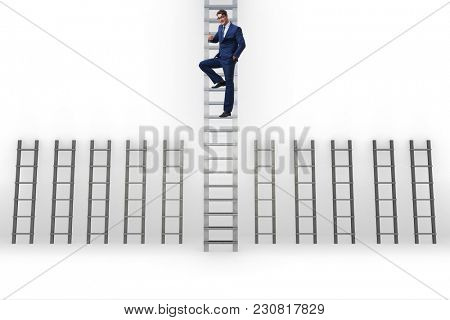 Businessman climbing career ladder in business success concept
