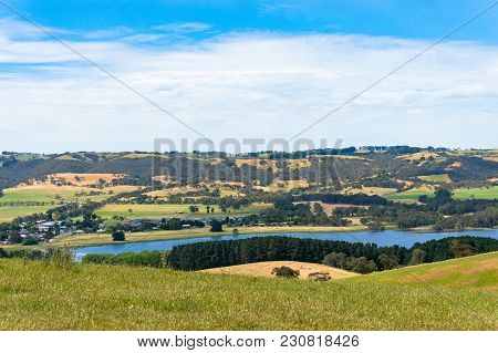 Aerial View Of Pictureesque Rural Landscape With Water Dam, Lake. Myponga, South Australia
