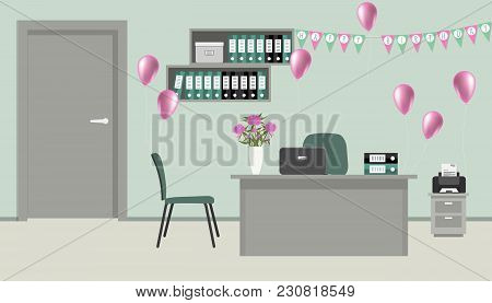 Workplace Of An Office Worker, Decorated For His Birthday. There Is A Desk, A Printer, Green Chairs,