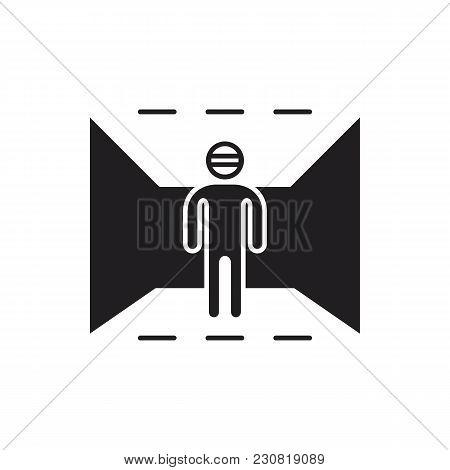 Virtual Reality Black Silhouette Icon. Man In Virtual Reality Vector Illustration On White Backgroun