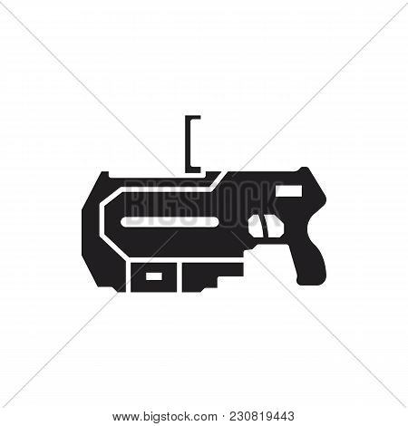 Virtual Reality Weapon Black Silhouette Icon. Vr Weapon Vector Illustration On White Background. Ele