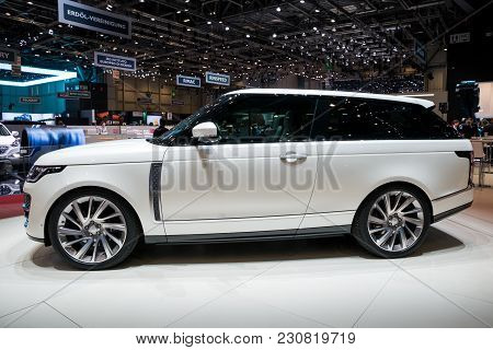 Geneva, Switzerland - March 6, 2018: Range Rover Sv Coupe Suv Car Unveiled At The 88th Geneva Intern