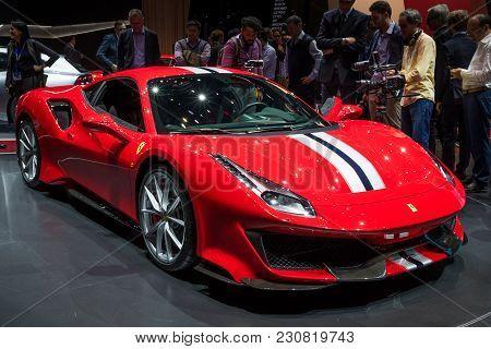 Geneva, Switzerland - March 6, 2018: New Ferrari 488 Pista Sports Car Unveiled At The 88th Geneva In