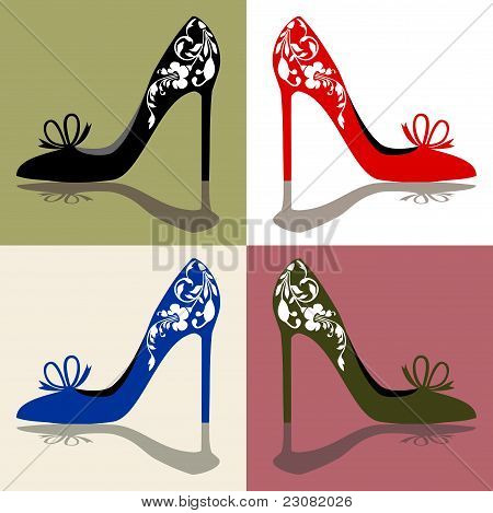 Set of  shoes silhouettes