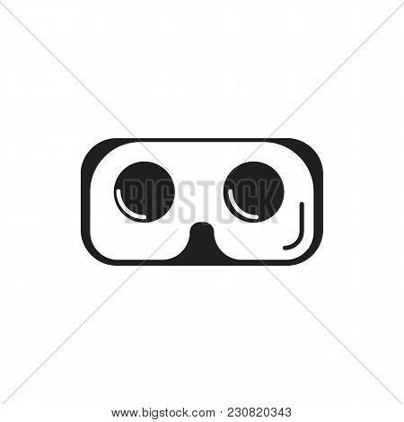 Virtual Reality Glasses Black Silhouette Icon. Virtual Reality Glasses Vector Illustration On White
