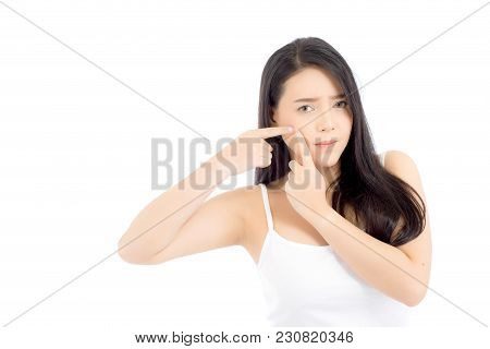 Beauty Young Asian Woman Is A Acne, Zit Treatment, Problem Beautiful Face, Girl Skin Care For Wrinkl