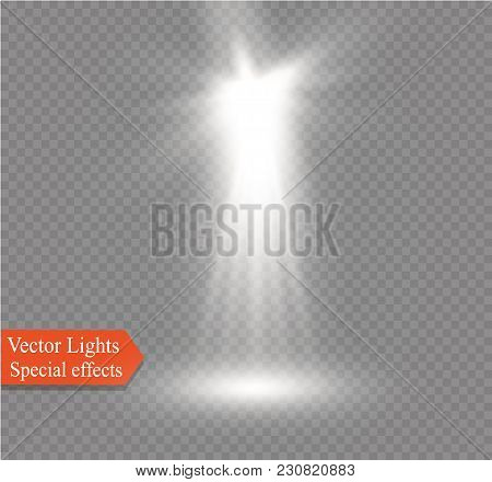 Spotlight On A Transparent Background. The Spectral Effect Of A Light Flash With Rays Of Light And M