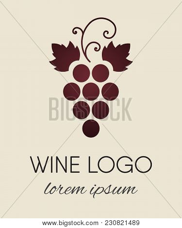 Red Colored Grapes Logo. Wine Or Vine Logotype Icon. Brand Design Element For Organic Wine, Wine Lis