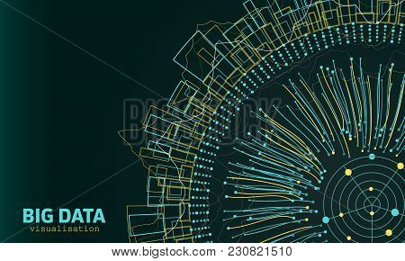 Big Data Visualization. Fractal Elements With Lines And Dots Array. Visual Abstract Structure - Illu