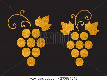 Gold Textured Grapes Logo. Golden Wine Or Vine Logotype Icon. Brand Design Element For Organic Wine,