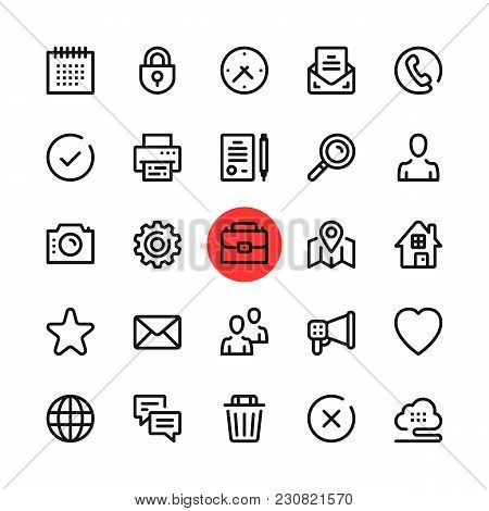 Basic Business, Office, Marketing Line Icons Set. Modern Graphic Design Concepts, Simple Outline Ele