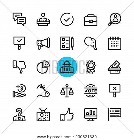 Politics, Elections Line Icons Set. Modern Graphic Design Concepts, Simple Outline Elements Collecti