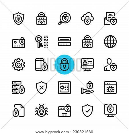Data Security, Privacy, Computer Protection Line Icons Set. Modern Graphic Design Concepts, Simple O