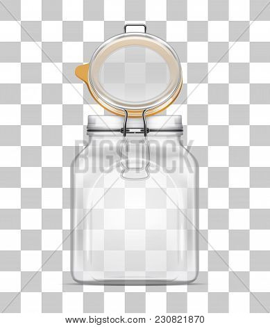 Vector Open Empty Bale Square Glass Jar With Swing Top Lid And Rubber Gasket Isolated On Transparent