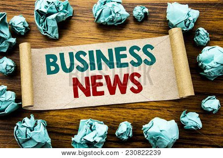 Word, Writing Business News. Business Concept For Modern Online News Written On Sticky Note Paper, W