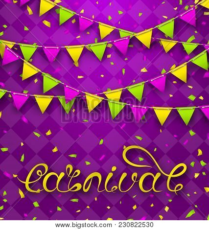 Hand Drawn Lettering For Carnival Party With Bunting Pennants. Poster, Card, Banner, Template, Festi