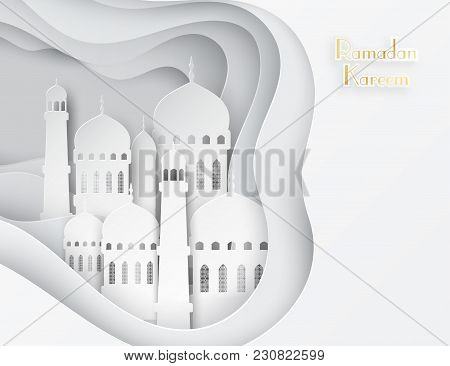 Vector 3d White Paper Mosque. Ramadan Kareem Greeting Card With Arabic Origami Mosque. Holy Month Of