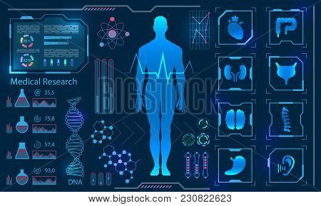 Medical Health Care Human Virtual Body Hi Tech Diagnostic Panel, Medicine Research - Illustration Ve