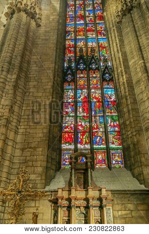Milan, Italy - December 11, 2016: Interior At The Famous Milan Cathedral. One Of The Secondary Altar