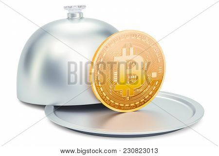 Restaurant Cloche With Bitcoin, 3d Rendering Isolated On White Background