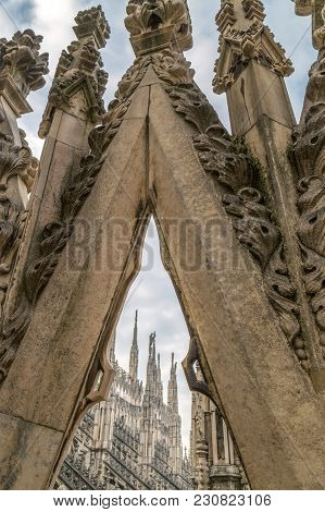Architectonic Details From Roof Of The Famous Milan Cathedral, Lombardy, Italy.