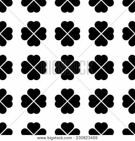 Black Shamrock Seamless Pattern. Background Of Fourleaf Clovers. Simple Flat Vector Illustration.